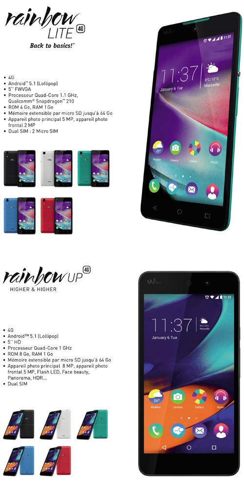 WiKo : 2 nouveaux smartphones de la gamme Rainbow LITE et UP