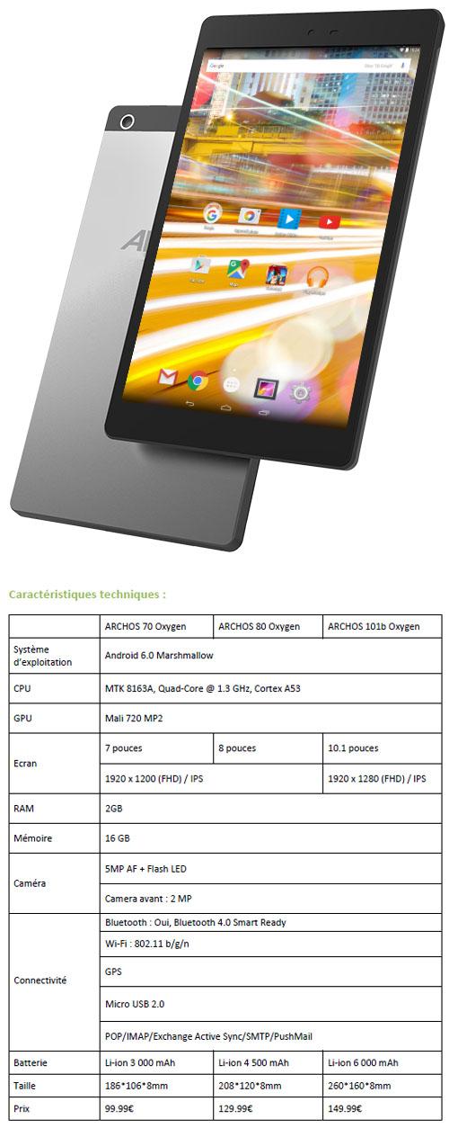 3 nouvelles tablettes Oxygen chez Archos