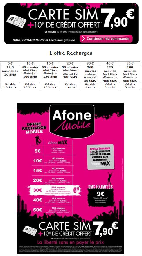 AfoneMobile lance sa nouvelle offre de carte sim prépayée et de recharges