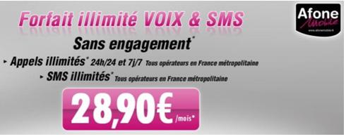 AfoneMobile lance son forfait illimité Voix/SMS 24h sur 24