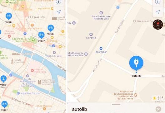 Apple : les stations de vélos en libre-service sont visibles dans Plans