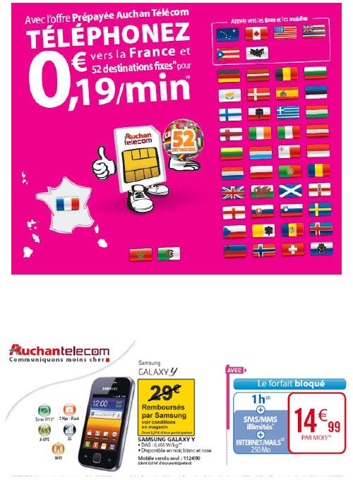 Auchan Telecom baisse le prix de ses offres prépayées sur 52 destinations