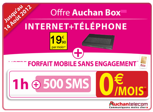 auchan tlcom lance une offre comprenant la auchan box et. Black Bedroom Furniture Sets. Home Design Ideas