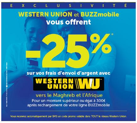 buzzmobile et western union offrent 25 de r duction sur leur frais de transfert d 39 argent. Black Bedroom Furniture Sets. Home Design Ideas