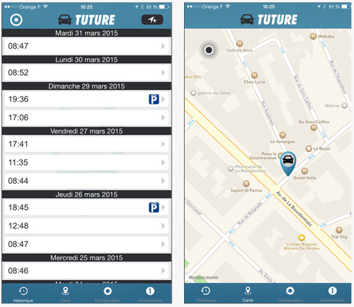 Tuture, une application qui retrouve sa voiture automatiquement