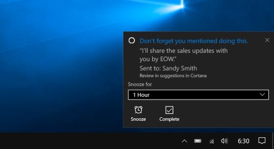 Cortana propose des rappels automatiquement en fonction des échanges de courriels