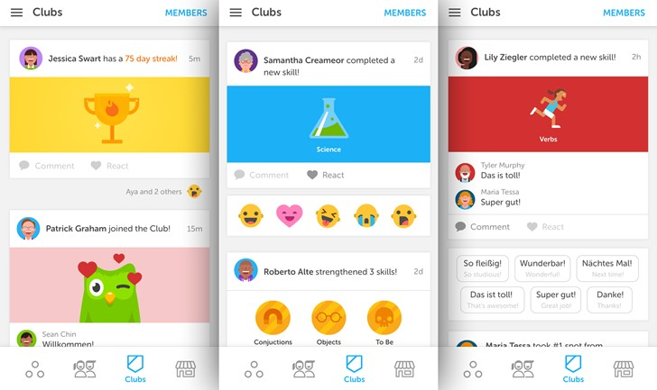 Duolingo : rester motivé grâce aux clubs de langues dans les applications Android et iOS