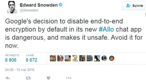 Google Allo : mise en garde d'Edward Snowden contre la messagerie