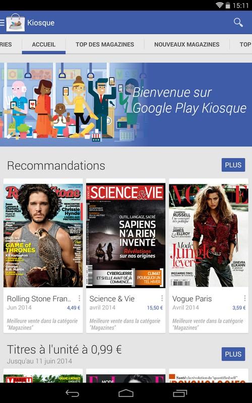 Google Play Kiosque : un accès à la presse française directement sur son smartphone