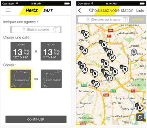 Hertz donne la possibilité de louer des véhicules via un iPhone