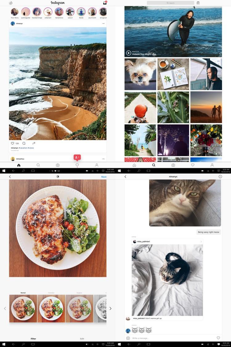 Les ordinateurs, tablettes et smartphones avec Windows 10 ont désormais droit à Instagram