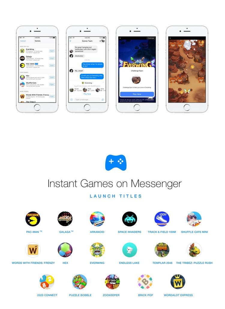 Instant Games : la boîte à jeux de Facebook Messenger