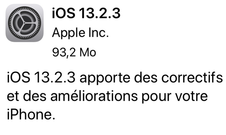 iOS 13.2.3 : Apple déploie une nouvelle mise à jour