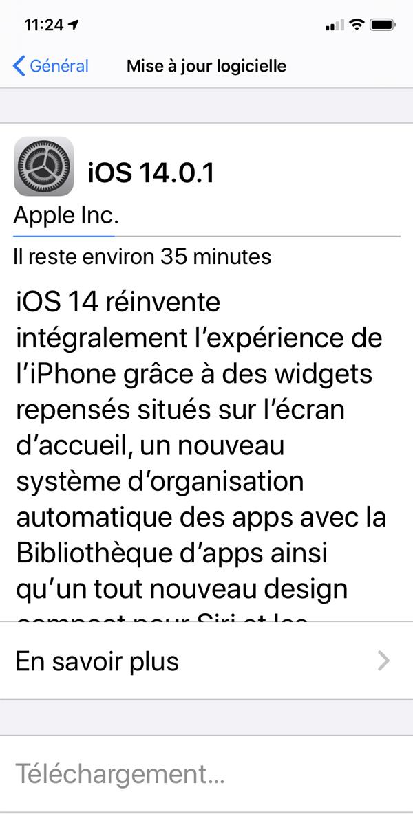 iOS 14.0.1 : Apple corrige plusieurs bugs de la mise à jour iOS 14
