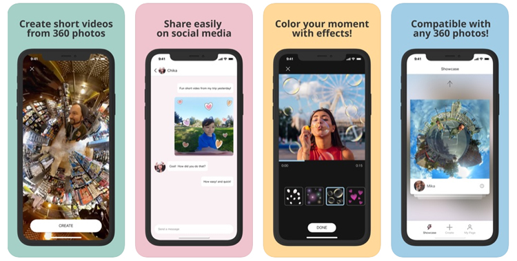 IQUISPIN, une application pour créer des mini-vidéos dynamiques à partir d'images d'appareils photo 360