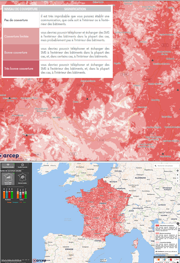 L'Arcep lance un site pour vérifier la couverture mobile des opérateurs avec quatre niveaux d'évaluation