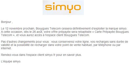 Bouygues Telecom met un terme à Simyo