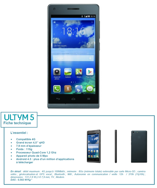L'Ultym 5 : le nouveau smartphone 4G sous la marque Bouygues Telecom