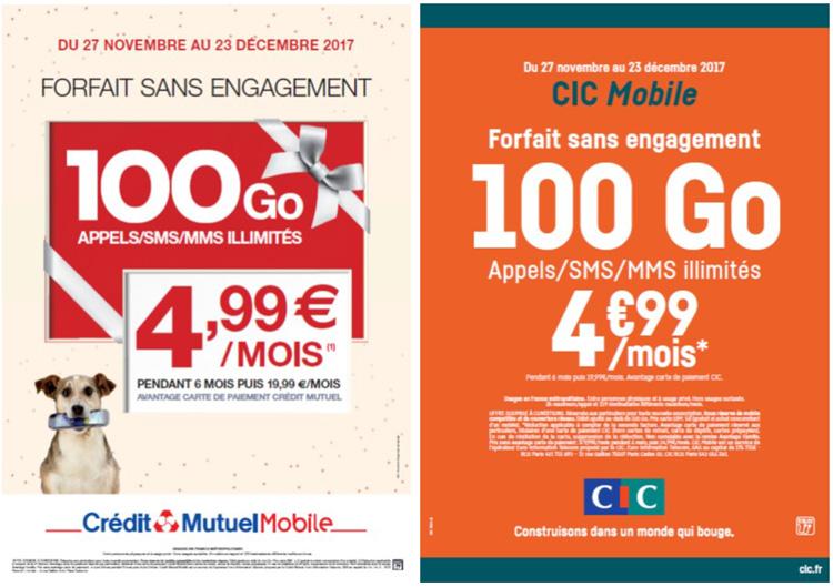 Un forfait 100 Go chez CIC Mobile et Crédit Mutuel Mobile pour 4.99 € par mois