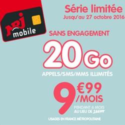 Forfait NRJ Mobile 20 Go est à 9.99 € par mois