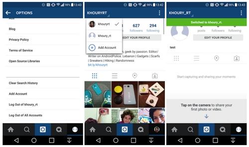 Instagram pour Android intègre la gestion de plusieurs comptes