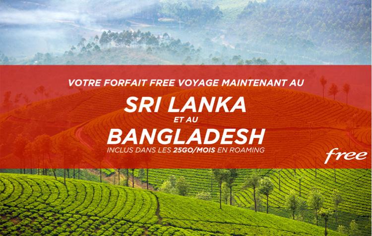 Les abonnés Free peuvent utiliser leur forfait avec 25Go/mois depuis le Sri Lanka et le Bangladesh