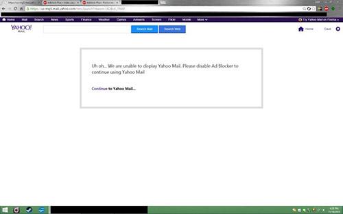 Yahoo s'en prend aux utilisateurs ayant un bloqueur de publicité