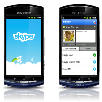 Les vid�oconf�rences Skype sont disponibles pour les Sony Ericsson Xperia kyno et Xperia pro