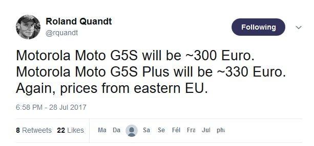 moto g5s et g5s plus les prix pour l 39 europe communiqus sur twitter. Black Bedroom Furniture Sets. Home Design Ideas