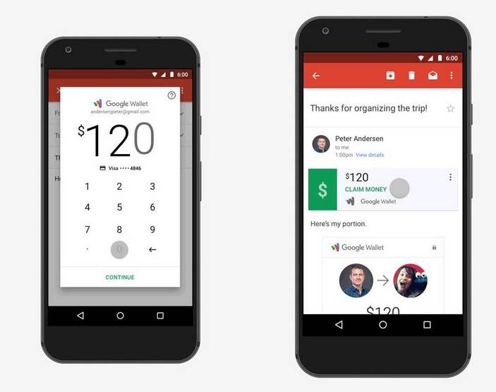 On peut désormais envoyer de l'argent en pièce jointe — Gmail sous Android