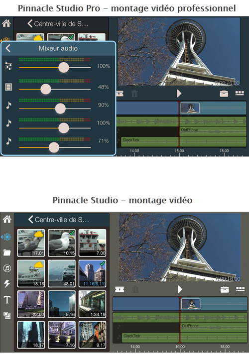 Pinnacle Studio arrive sur iOS avec deux applications