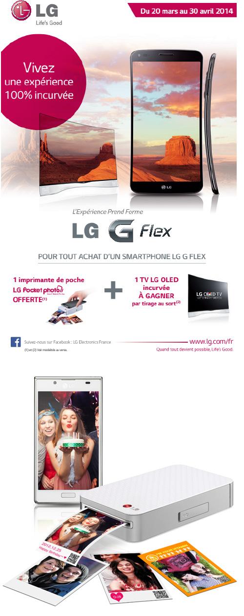 Pour tout achat d'un LG G Flex, une Pocket Photo est offerte