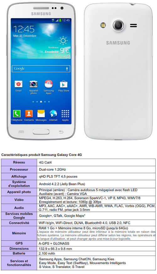 Samsung dévoile son Galaxy Core 4G