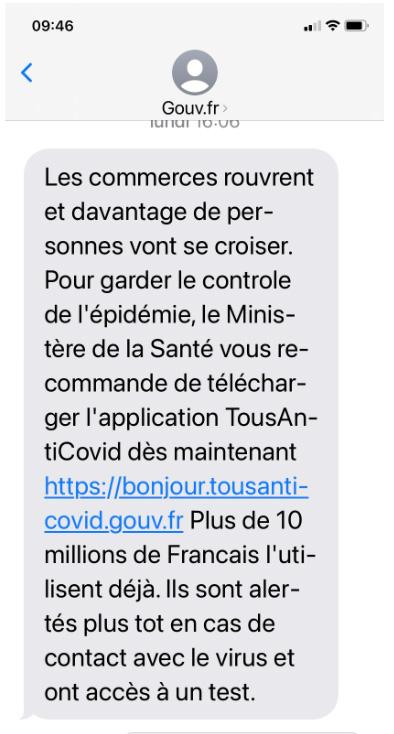 Tousanticovid : un faux SMS imite celui du gouvernement pour installer un dangereux malware