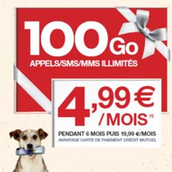 Le forfait 100 Go est à partir de 4.99 € chez chez CIC Mobile et Crédit Mutuel Mobile