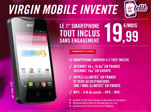 Virgin Mobile dévoile une offre illimitée sans engagement avec un smartphone pour 19.99 € par mois