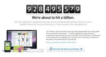 Apple lance un concours pour le milliardième téléchargement sur l'AppStore
